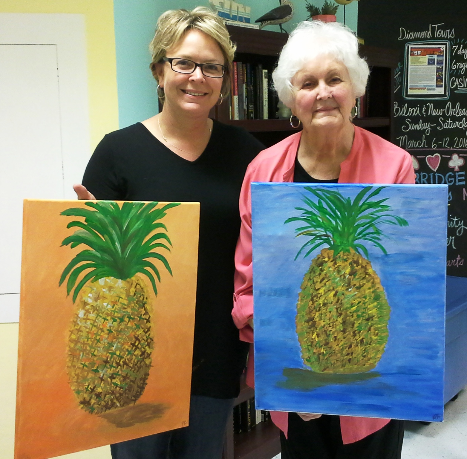 2 Ladies Painting Pineapples